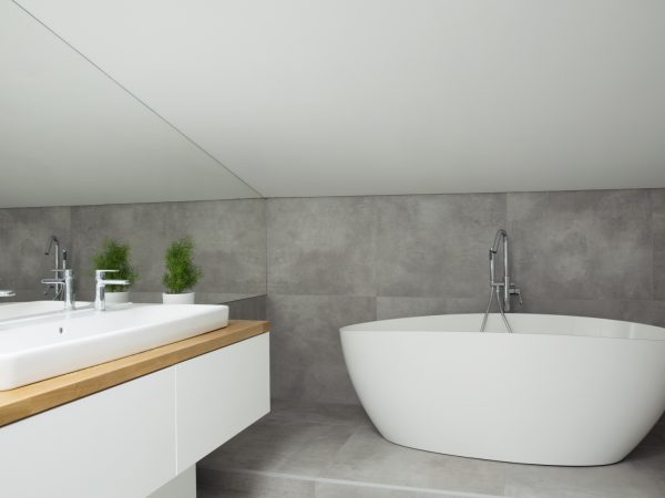 Plant on cabinet with washbasin in grey bathroom interior with white bathtub and mirror